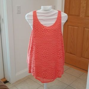 Coral crochet lace tank top